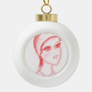 Aleta encantadora en rojo brillante adorno de cerámica en forma de bola
