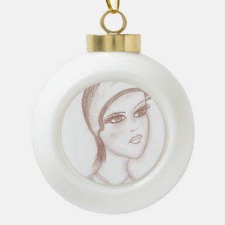 Aleta encantadora en sepia adorno de cerámica en forma de bola