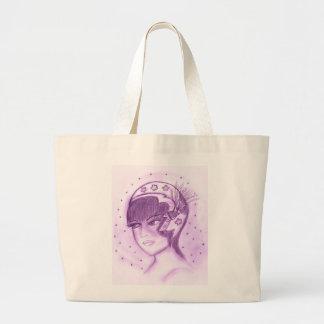 Aleta estrellada en púrpura bolsa tela grande