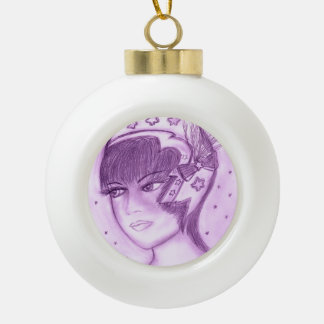 Aleta estrellada en púrpuras adorno de cerámica en forma de bola