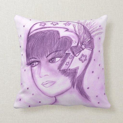Aleta estrellada en púrpuras almohada