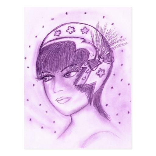 Aleta estrellada en púrpuras postal