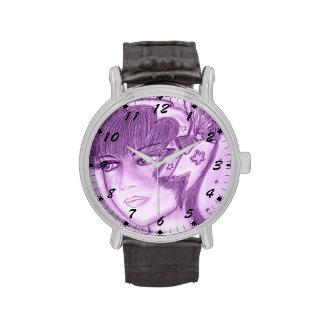 Aleta estrellada en púrpuras relojes de pulsera