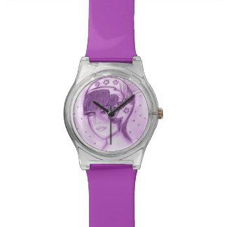 Aleta estrellada en púrpuras relojes