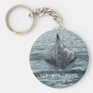 Aleta trasera y dorsal de la ballena llavero redondo tipo pin