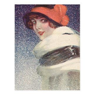 Aletas antiguas del vintage, retratos de mujeres, postal