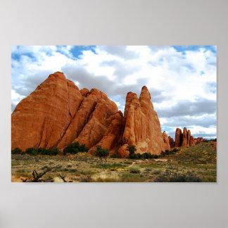 Aletas de la piedra arenisca, arcos parque posters