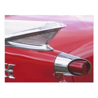 Aletas del vintage y foto clásica del coche del cr postal