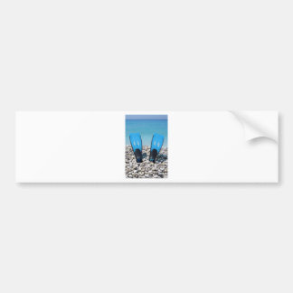 Aletas, guijarros, y océano etiqueta de parachoque