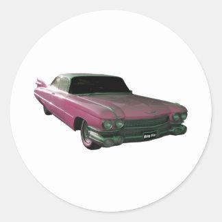 Aletas rosadas grandes 1959 de Caddilac Pegatina Redonda