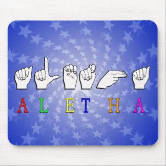 ALETHA FINGERSPELLED ASL NAME FEMALE MOUSE PAD
