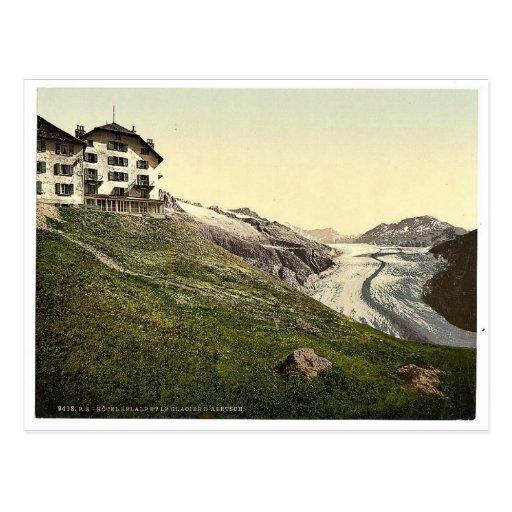 Aletsch, glaciar y hotel de Belalp, Valais, montañ Postales