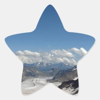 Aletsch Glacier at Jungfrau in Switzerland Star Stickers