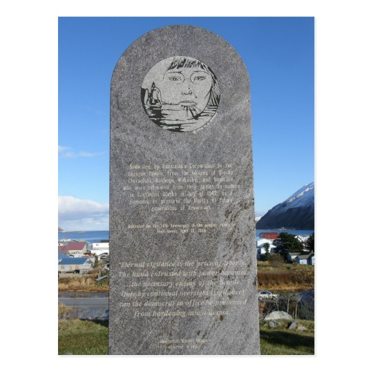 Aleut Relocation Memorial, Unalaska Island Postcard