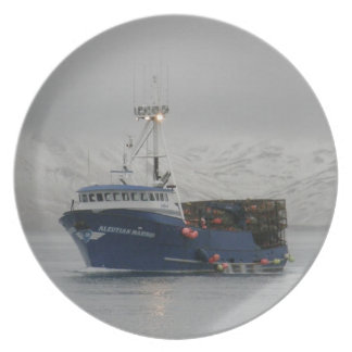Aleutian Mariner, Crab Fishing Boat in Dutch Harbo Dinner Plate