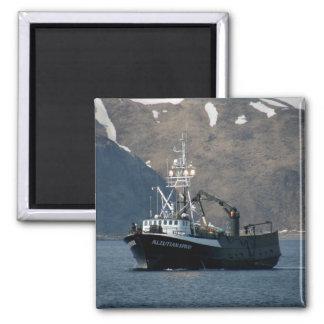 Aleutian Spray, Crab Boat in Dutch Harbor, Alaska 2 Inch Square Magnet