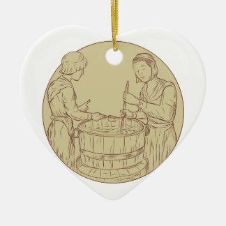 Alewife Brewing Beer Drawing Ceramic Ornament