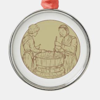 Alewife Brewing Beer Drawing Metal Ornament
