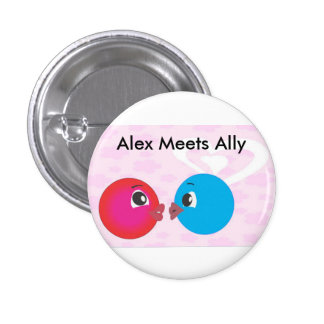 Alex And Ally Kissing.Alex Meets Ally Fun Photo. Pinback Buttons