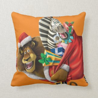 Alex and Marty on a Holiday themed pillow.