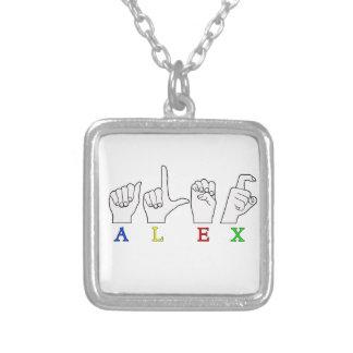 ALEX  FINGER SPELLED ASL NAME SIGN SILVER PLATED NECKLACE