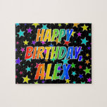 "[ Thumbnail: ""Alex"" First Name, Fun ""Happy Birthday"" Jigsaw Puzzle ]"