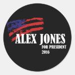 Alex Jones para el presidente 2016 Pegatina Redonda