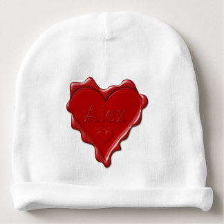 Alex. Red heart wax seal with name Alex Baby Beanie