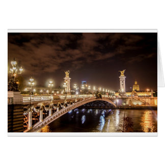 Alexander 3 bridge in Paris France at night Card