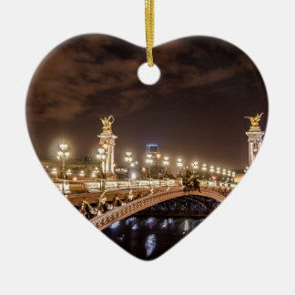 Alexander 3 bridge in Paris France at night Ceramic Ornament