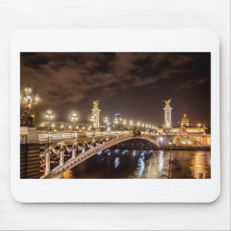 Alexander 3 bridge in Paris France at night Mouse Pad