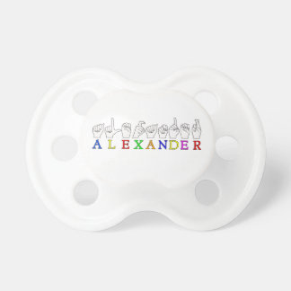 ALEXANDER ASL FINGERSPELLED NAME SIGN BABY PACIFIERS