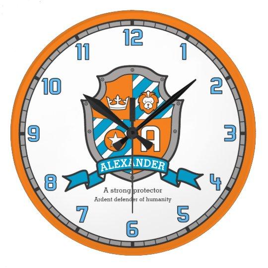 Alexander boys name meaning knights shield orange large clock