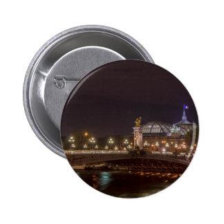 Alexander bridge and large palace At night Paris Pinback Button