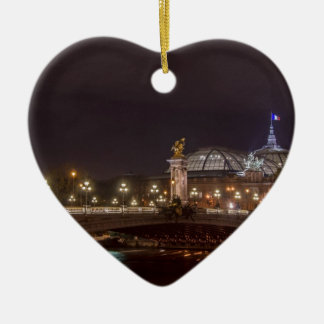 Alexander bridge and large palace At night Paris Ceramic Ornament