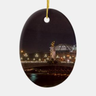 Alexander bridge and large palace At night Paris Ceramic Ornament