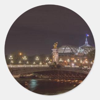 Alexander bridge and large palace At night Paris Classic Round Sticker