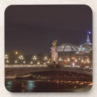Alexander bridge and large palace At night Paris Drink Coaster