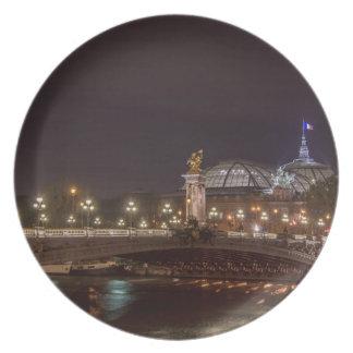 Alexander bridge and large palace At night Paris Melamine Plate