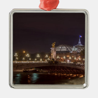 Alexander bridge and large palace At night Paris Metal Ornament