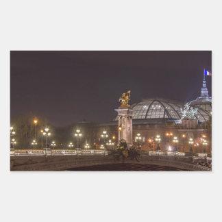 Alexander bridge and large palace At night Paris Rectangular Sticker