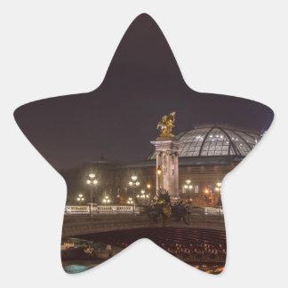 Alexander bridge and large palace At night Paris Star Sticker