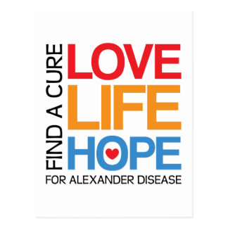 Alexander disease awareness postcard - find a cure