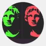 Alexander el gran collage pegatina redonda