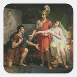 Alexander el grande entrega Campaspe Pegatina Cuadrada