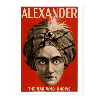 """""""Alexander: El hombre que sabe la"""" tarjeta del Postal"""