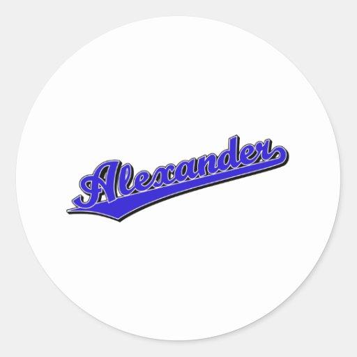 Alexander en azul pegatina redonda