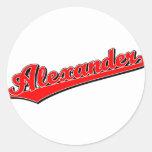 Alexander en rojo pegatinas redondas