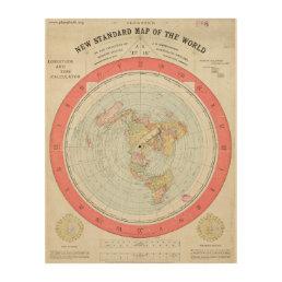 Alexander Gleason's NEW STANDARD MAP OF THE WORLD Wood Wall Art