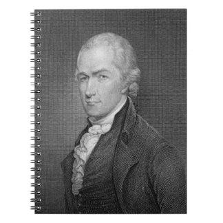 Alexander Hamilton (1757-1804) engraved by John Fr Spiral Notebook